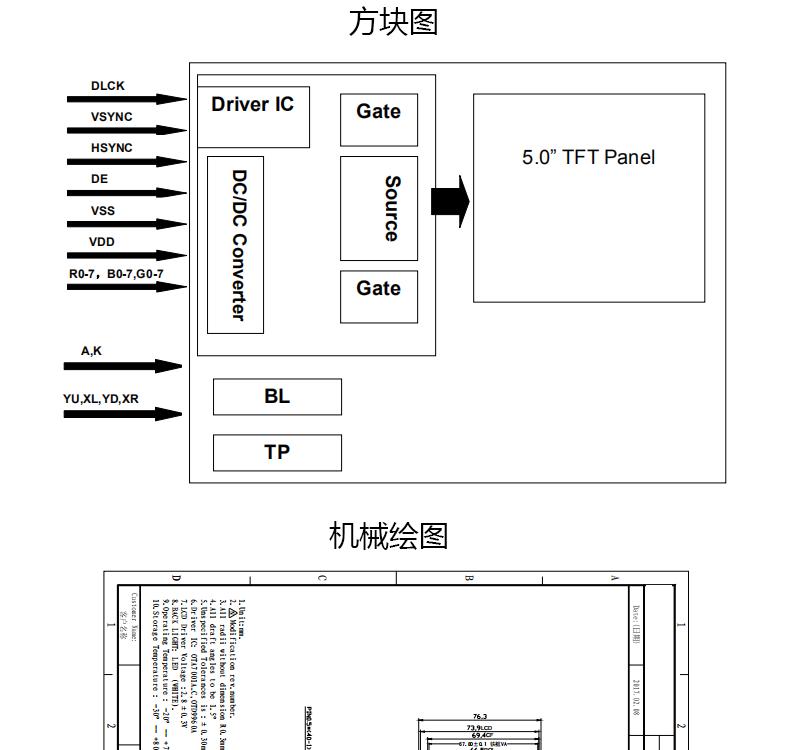 工业5寸液晶屏 800x480 40pin IPTN横屏RGB接口