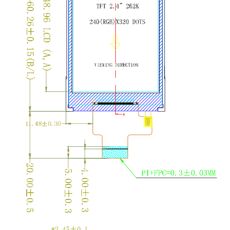 .4寸液晶屏模块分辨率240(RGB)