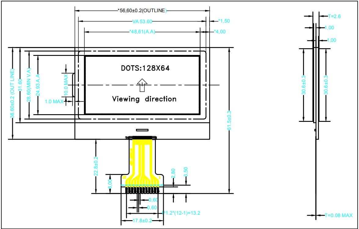 """.3寸液晶屏定制串口spi焊接工业显示模块"""""""