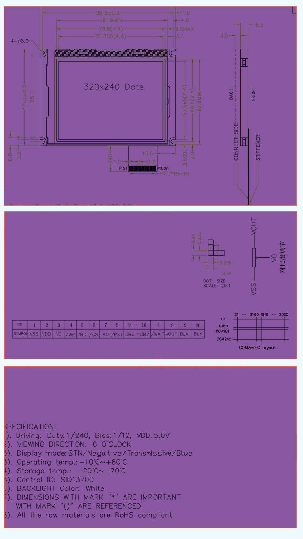 20x240液晶模块,支持3.8寸液晶屏定制